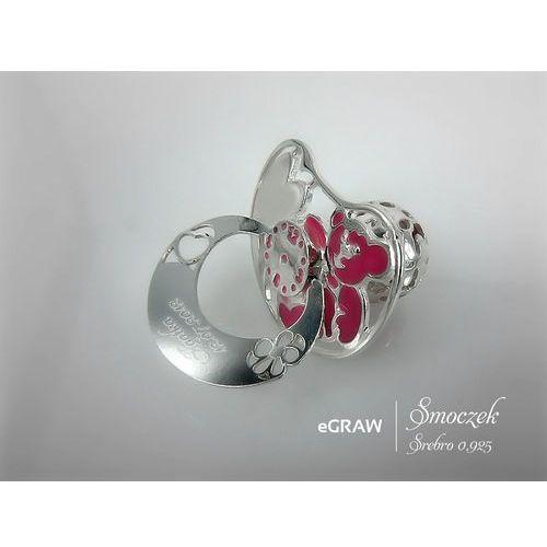 Smoczek Srebrny różowy GRAWER Tabliczka na Chrzest - Smoczek srebrny 925 z różowym