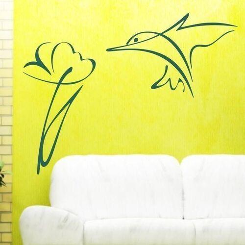 Wally - piękno dekoracji Naklejka koliber kwiatek 1284