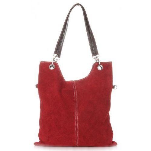 Uniwersalne Torebki Skórzane z Zamszu firmy Genuine Leather Czerwone (kolory)