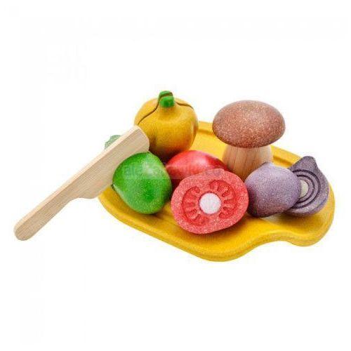 Plan Toys, Warzywa z deską do krojenia, zestaw, drewniany