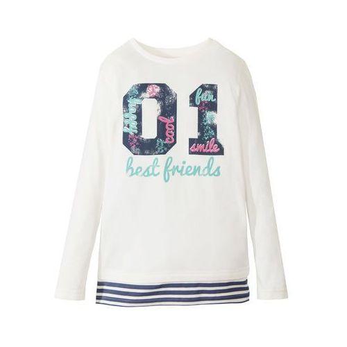 Shirt warstwowy w paski  biel wełny - indygo w paski marki Bonprix