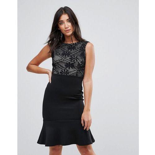 scuba pephem midi dress with lace top - black marki Ax paris
