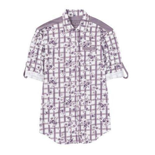 Koszula nocna z dżerseju, z plisą guzikową w kratę - w kwiaty marki Bonprix