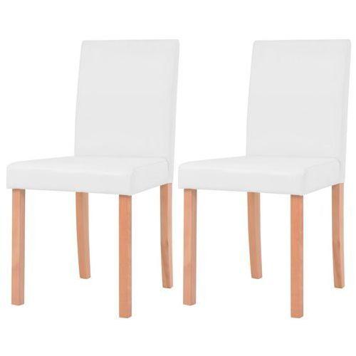 vidaXL Krzesła, 2 szt., sztuczna skóra, drewno bukowe, kremowe