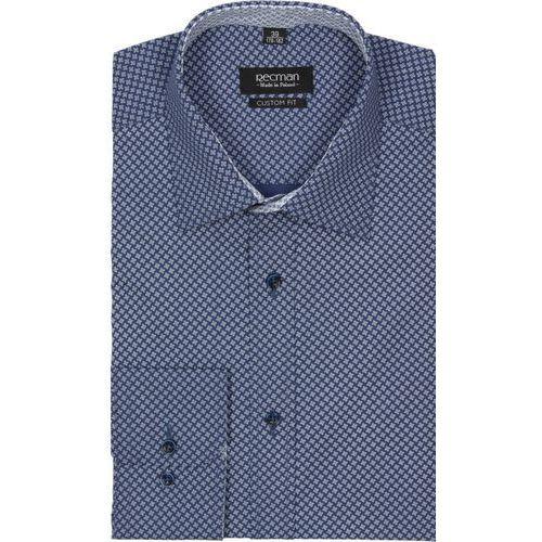 koszula bexley 2246 długi rękaw custom fit granatowy, bawełna