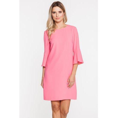 Brzoskwiniowa sukienka na wesele - Bialcon, kolor różowy