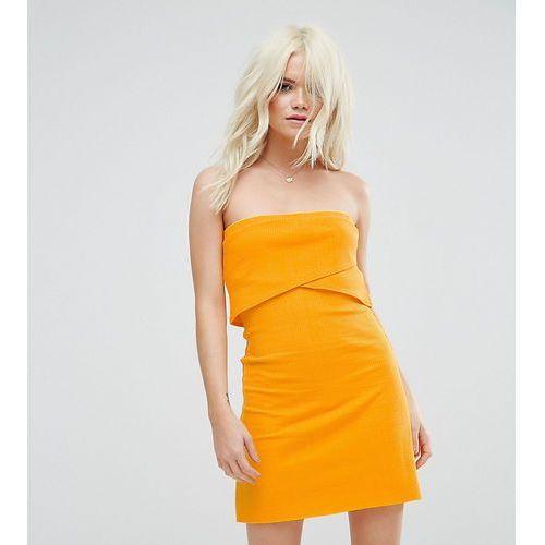 mini layered bandeau ribbed dress - yellow, Asos petite