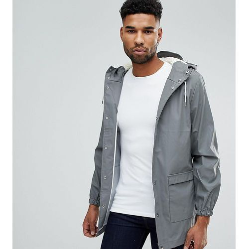tall mid length water-resistant jacket with hood - grey, D-struct
