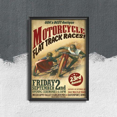 Plakat vintage do salonu plakat vintage do salonu wyścigi motocyklowe flat track marki Vintageposteria.pl