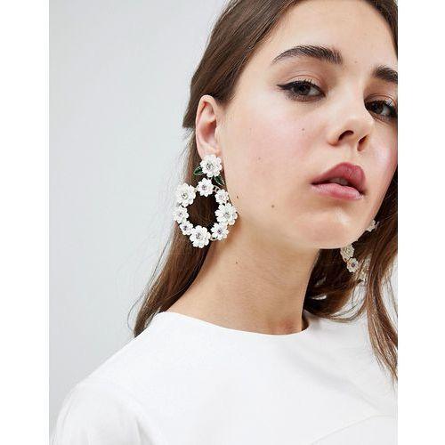 Johnny Loves Rosie 3D Floral Statement Earrings - White, kolor biały