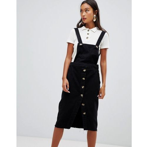 Bershka dungaree dress with button details in black - blue
