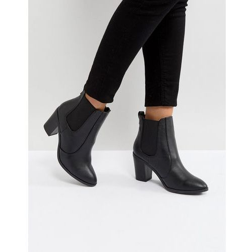pointed leather look heeled ankle boot - black, New look