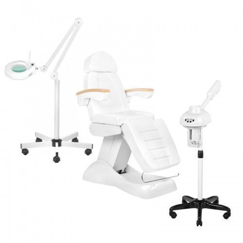 Zestaw Kosmetyczny Fotel Elektryczny LUX + Wapozon JY10 + Lampa Lupa Led S5