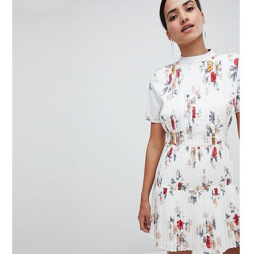 Boohoo Floral Pleated Skater Dress - White, kolor biały