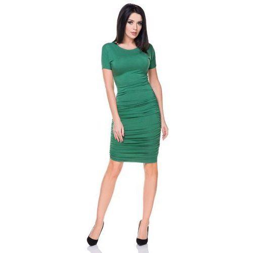 Tessita Zielona sukienka bodycon drapowana na bokach