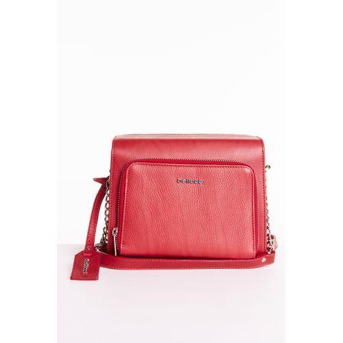 Czerwona torebka z kieszonką - Franco Bellucci, kolor czerwony