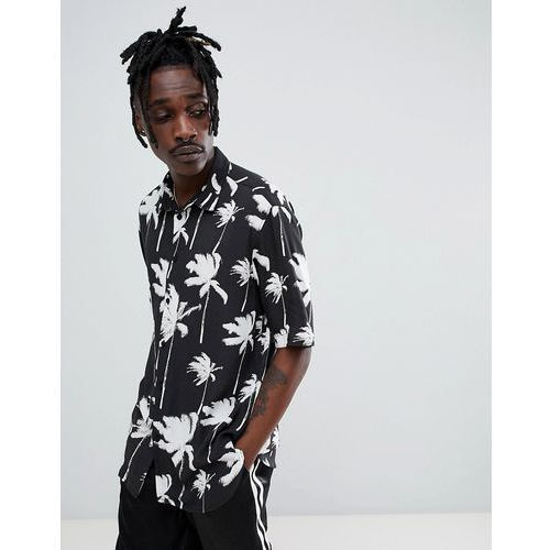 short sleeved shirt in black with palm trees - black, Bershka, XS-XL