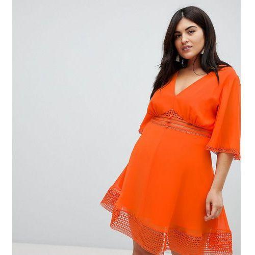 ASOS DESIGN Curve mini tea dress with lace inserts and button front detail - Orange, 1 rozmiar