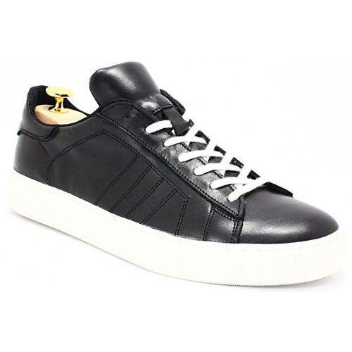 293 czarny-biały- skórzane buty sportowe - biały ||czarny, Kent