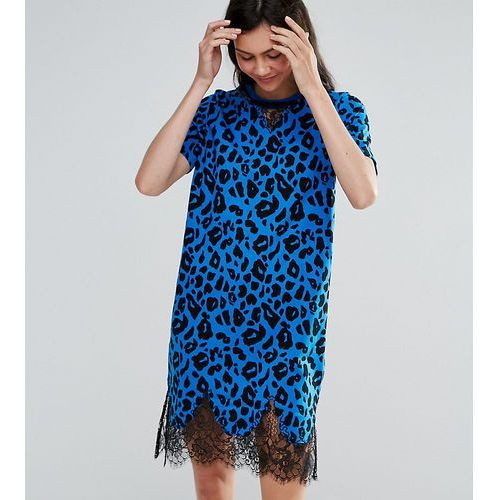 Asos tall t-shirt dress with lace inserts in leopard print - multi