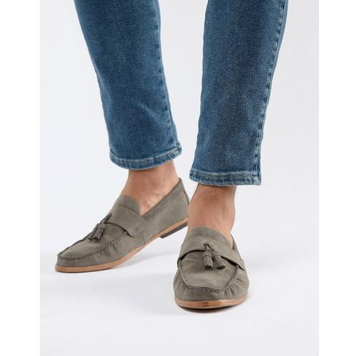 New look faux suede tassel loafer in dark grey - grey