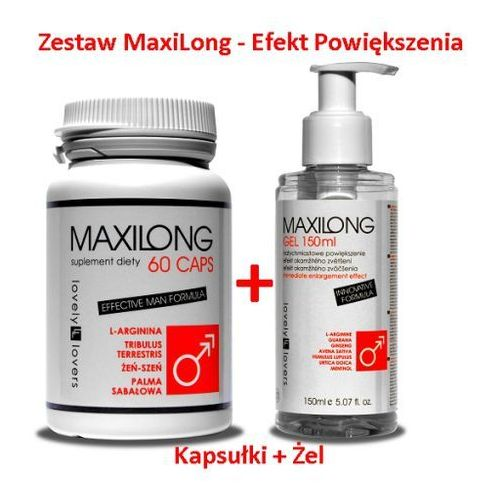 Maxilong 60 kaps. + maxilong żel 150 ml zestaw powiększający penisa marki Lovely lovers