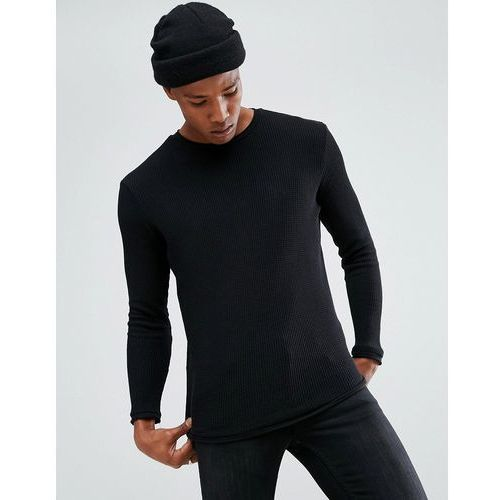 Bershka lightweight jumper in black - black