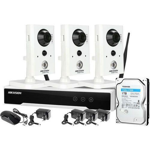 Hikvision Zm12894 zestaw monitoringu bezprzewodowego do kiosku sklepiku stoiska 3 kamery z mikrofonem i czujnikiem ruchu pir wifi full hd dysk 1tb