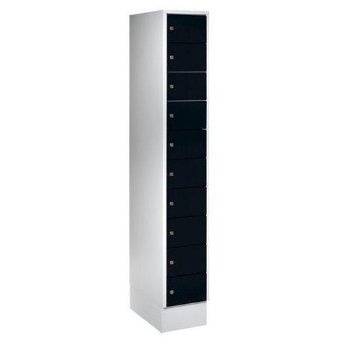 Szafa z małymi schowkami, 10 półek, wys. x szer. 1850x300 mm, kolor drzwi: czarn marki Eugen wolf