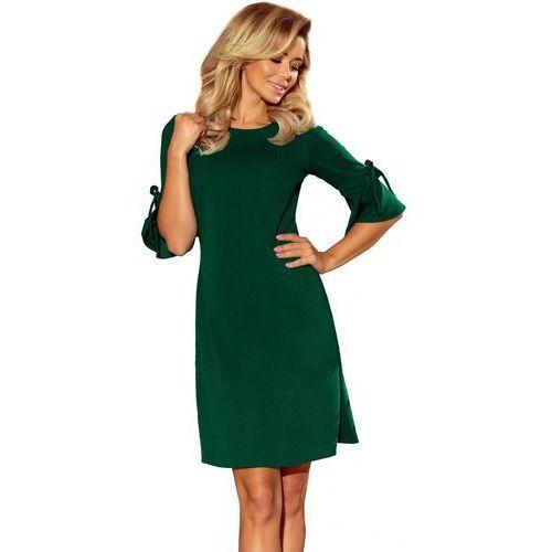 1148bd12c3 217-2 neva trapezowa sukienka z rozkloszowanymi rękawkami - zieleń  butelkowa l