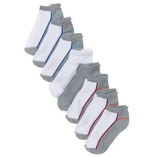 Krótkie skarpetki damskie (8 par) bonprix biało-szaro-kolorowy, kolor biały