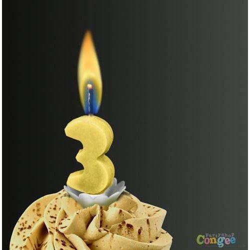 """Świeczka cyferka trójka """"3"""" z żółtym płomieniem - 1 szt."""