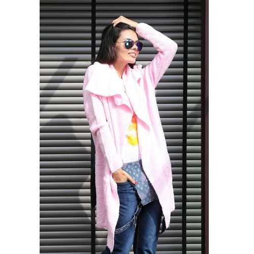 """Sweter z paskiem różowy model """" 004A"""" - różowy"""