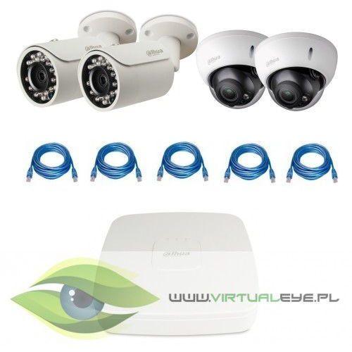 """Zestawy do monitoringu """" 1.3mp poe"""". 2 x kamera ipc-hfw1120s-0360b, 2 x kamera ipc-hdbw2100r-z, rejestrator poe dahua dhi-nvr1104p, skrętka wyprodukowany przez Dahua"""
