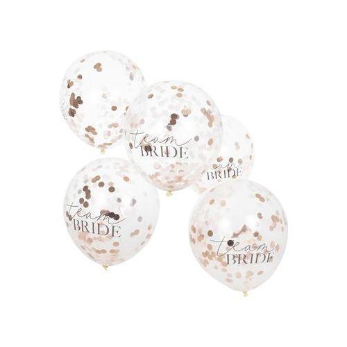 Balony przezroczyste z konfetti team bride na wieczór panieński - 30 cm - 5 szt marki Ginger ray