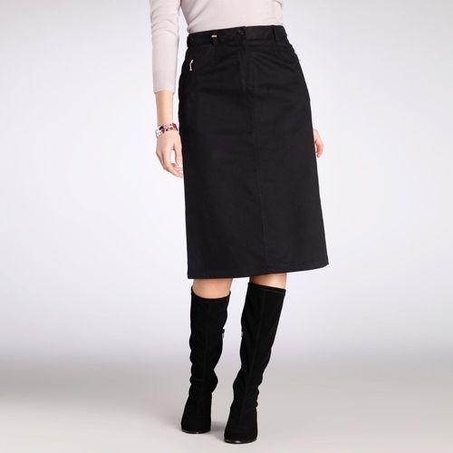 Prosta spódnica z bawełnianej satyny ze stretchem długość 64 cm marki Anne weyburn