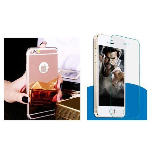 Zestaw   Slim Mirror Case Różowy + Szkło ochronne Perfect Glass   Etui dla Apple iPhone 6 Plus / 6S Plus