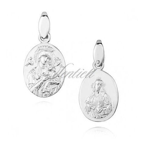 Srebrny (pr.925) medalik diamentowany Matka Boska Nieustającej pomocy / Serce Jezusa - dwustronny - KS0164