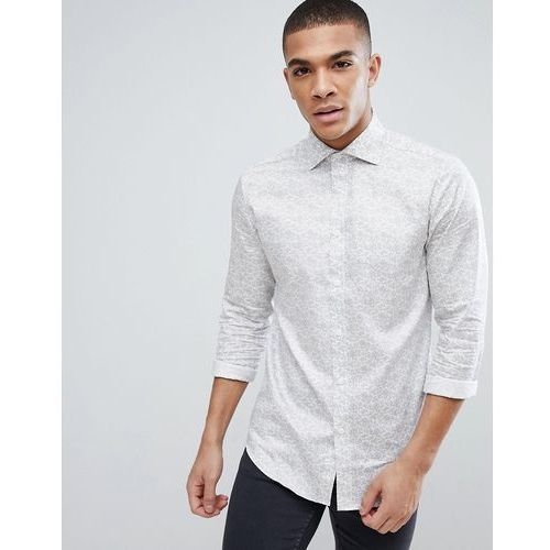 Esprit Slim Fit Shirt With All Over Paisley Shirt - White, 1 rozmiar