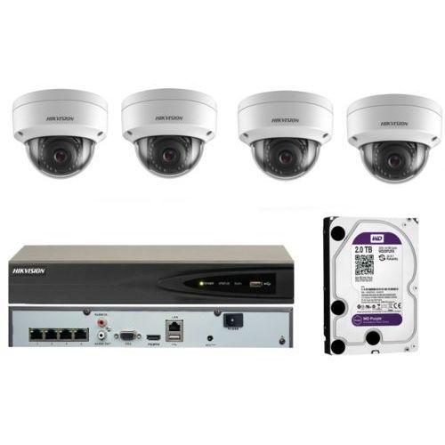 Gotowy do montażu monitoring ip na 4 kamery 8mpx z rejestratorem poe oraz dyskiem 2tb marki Hikvision