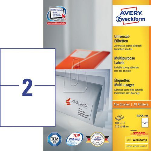 Avery zweckform Etykiety uniwersalne  trwałe 210 x 148mm 200 ark./op. 3655-200
