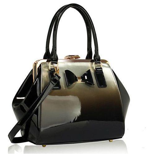 Srebrny kuferek lakierowany cieniowany - czarny ||srebrny
