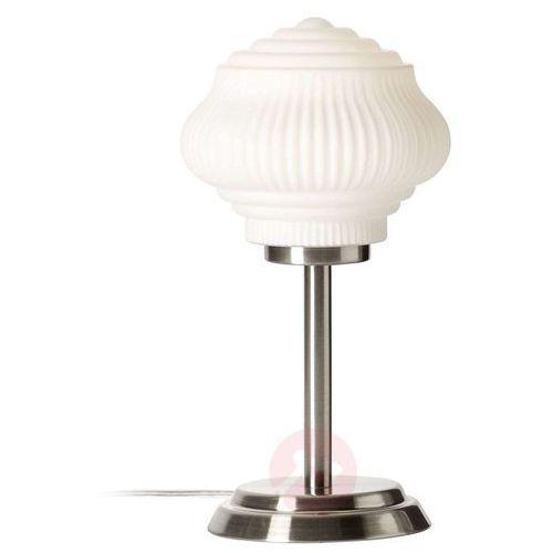 Nowoczesna lampa stołowa Tanic nikiel + biały (4004353317194)