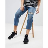 Mennace tapered jeans in midwash blue with knee rip - blue