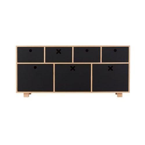 Durbas Style Drewniana Komoda Niska 120 x 40 Czarna