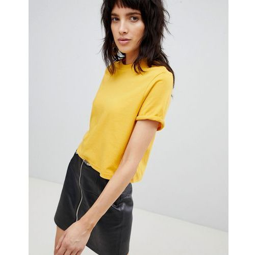 Stradivarius Crop Jersey Roll Sleeve Tee Plain - Yellow, kolor żółty