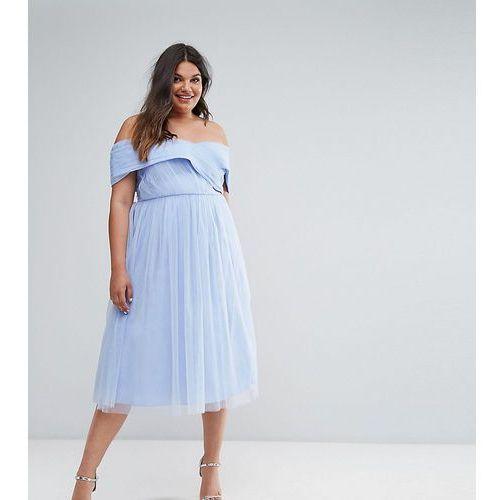 ASOS CURVE WEDDING Tulle Midi Dress - Blue, kolor niebieski