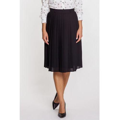 Bialcon Czarna plisowana spódnica za kolano -