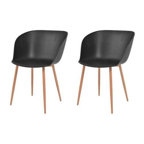 Komplet 2 krzeseł, czarne, plastikowe siedziska i stalowe nogi