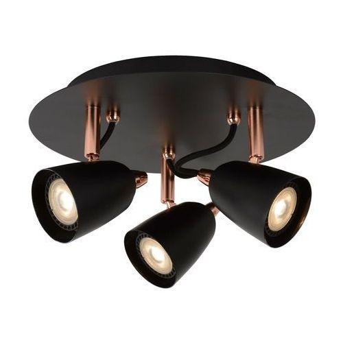 Ride-led - plafon reflektorków obrotowych 3-punktowy metal czarny/miedź Ø25cm marki Lucide